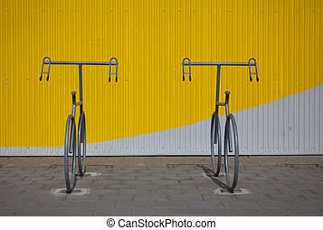 bicycle parking neaby a modern building