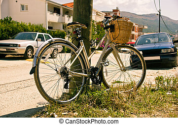 Bicycle parking on the village street