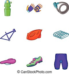 Bicycle parts icons set, cartoon style