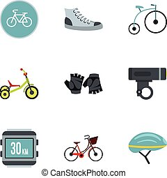 Bicycle parts icons set, flat style