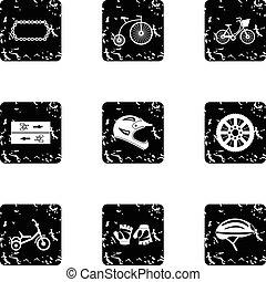 Bicycle parts icons set, grunge style