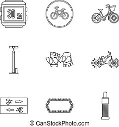 Bicycle parts icons set, outline style