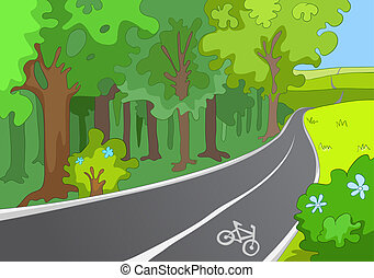 Bicycle Path. Cartoon Background. Vector Illustration EPS...