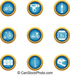 Bicycle path icons set, flat style - Bicycle path icons set....
