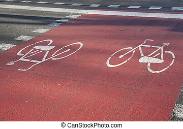 Bicycle Path in Barcelona, Spain