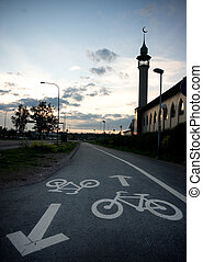 Bicycle path past a mosque in Uppsala, sweden