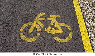 bicycle path with white sign in the park