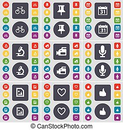 Bicycle, Pin, Calendar, Microscope, Film camera, Microphone, Media file, Heart, Like icon symbol. A large set of flat, colored buttons for your design. Vector