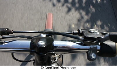 bicycle riding, bike handlebar point of view