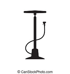 Bicycle pump - Black vector bicycle hand pump icon isolated