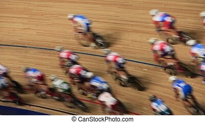 Bicycle Race velodrome competition speed blurred motion