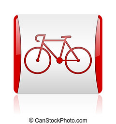bicycle red and white square web glossy icon