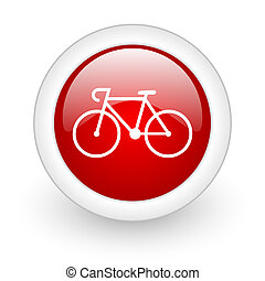 bicycle red circle glossy web icon on white background