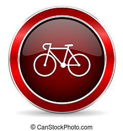 bicycle red circle glossy web icon, round button with metallic border