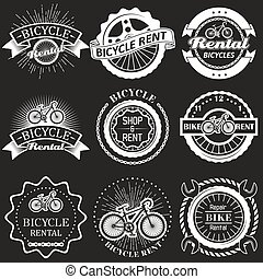 Bicycle rental vector vintage badges, labels, emblems, logo