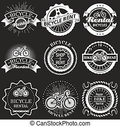 Bicycle rental vector vintage badges, labels, emblems, logo