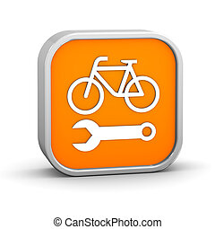 Bicycle repair sign on a white background. Part of a series.