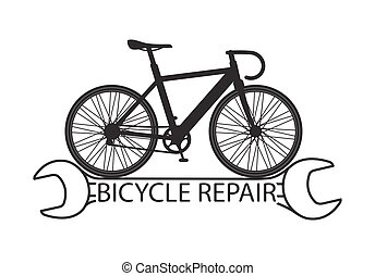 Bicycle repair with composition a silhouette of bicycle on stylized wrench