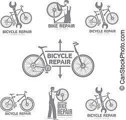 Bicycle repair workshop vector logo template