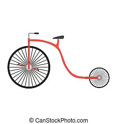 Bicycle retro vintage vector bike illustration isolated design old white sport background transport red