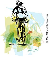 bicycle rider on abstract background
