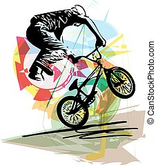 bicycle rider on abstract background - Abstract illustration...