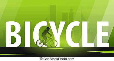 Bicycle riding banner. Sport, active lifestyle. Vector illustration.