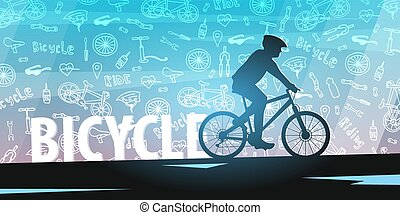 Bicycle riding banner with doodle background. Sport, active lifestyle. Vector illustration.