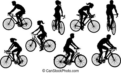 Bicycle Riding Bike Cyclists Silhouettes Set - A set of...