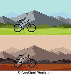 Bicycle riding in wild mountain nature landscape, background.
