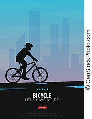 Bicycle riding poster. Sport, active lifestyle. Vector illustration.