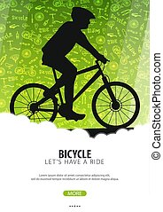 Bicycle riding poster with doodle background. Sport, active lifestyle. Vector illustration.