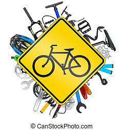 bicycle road sign concept with various bike parts isolated...
