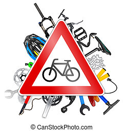 bicycle road sign concept