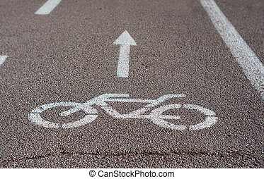 Bicycle road sign in a city park