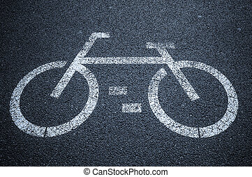 Bicycle road sign on asphalt