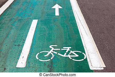 Bicycle road sign on bicycle lane