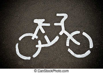 Bicycle road sign on the street