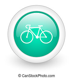 bicycle round glossy web icon on white background