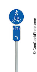 Bicycle route number, cycling and pedestrian lane road sign, large detailed isolated vertical closeup, European Eurovelo cycle bike network concept, white direction arrow, blue painted metal marker, metallic signpost pole post