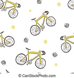 bicycle seamless doodle pattern, hand drawn vector.