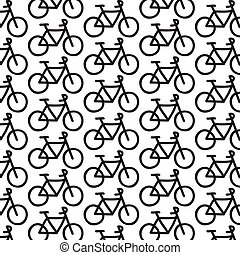 bicycle seamless doodle pattern, vector line illustration