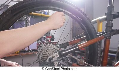 Bicycle service concept. A young man repairs and maintains a bicycle