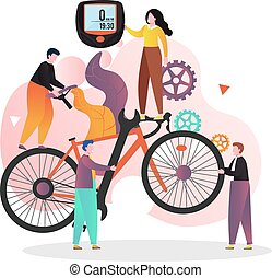 Bicycle service vector concept for web banner, website page