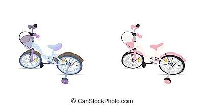 bicycle., set, bambini, isolato