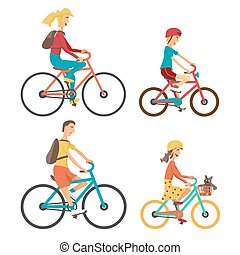 Bicycle Set for family ride. Set man, woman, boy and girl on...