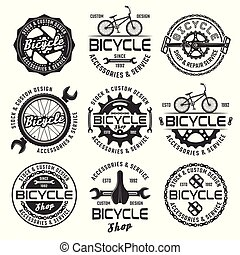 Bicycle shop vector emblems, badges and labels