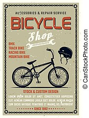 Bicycle shop vector poster in retro style