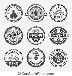Bicycle shop vector round labels, badges, emblems