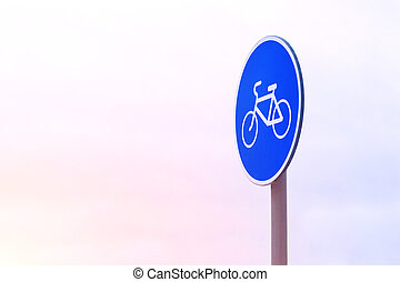 Bicycle sign in blue circle